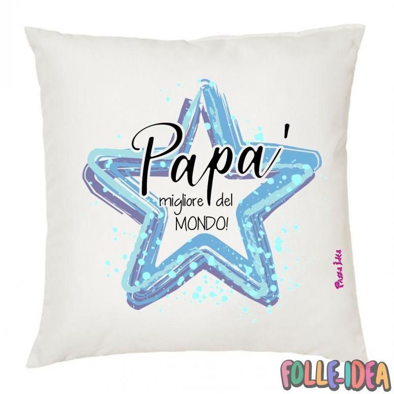 """Cuscino Idea Regalo per il papà \\""""migliore del mondo\\"""" csnpp006"""