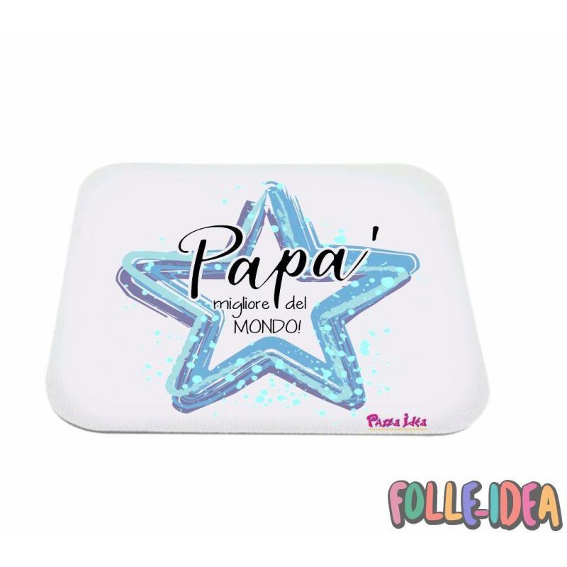 """MousePad Rettangolare Idea Regalo per il papà \\""""migliore del mondo\\"""" mspdpp005"""