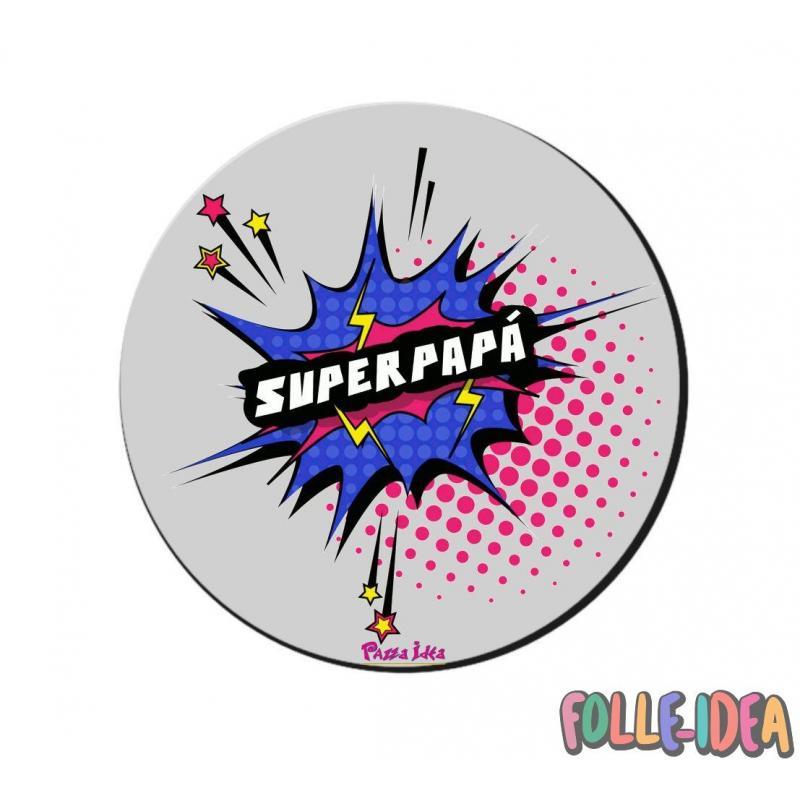 "MousePad Rotondo Idea Regalo per il papà \\""superpapà\\"" mspdpp009"