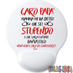 """MousePad Rotondo con Poggia Polso Idea Regalo per il papà \\""""Non vedo l'ora di conoscerti\\"""" mspdpp012"""