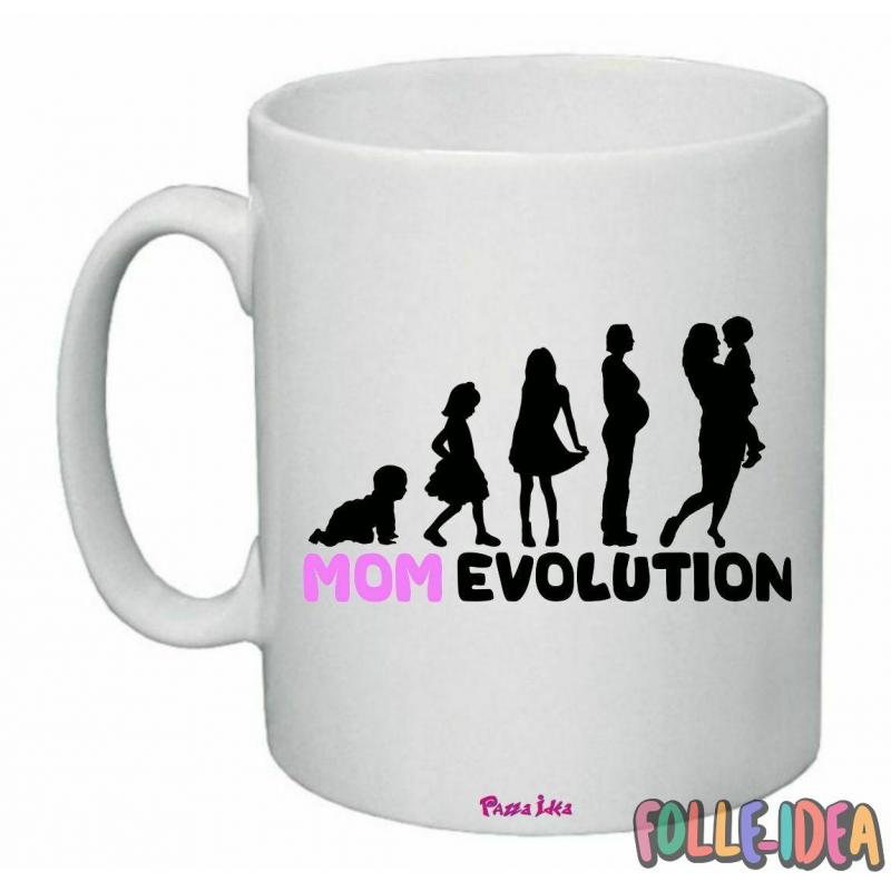 "Tazza Mug Idea Regalo per la Mamma \""mom evolution\\"" tzmm005"