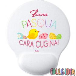 MousePad Rotondo con Poggia Polso Idea Regalo per pasqua -cugina- mspdpsq017