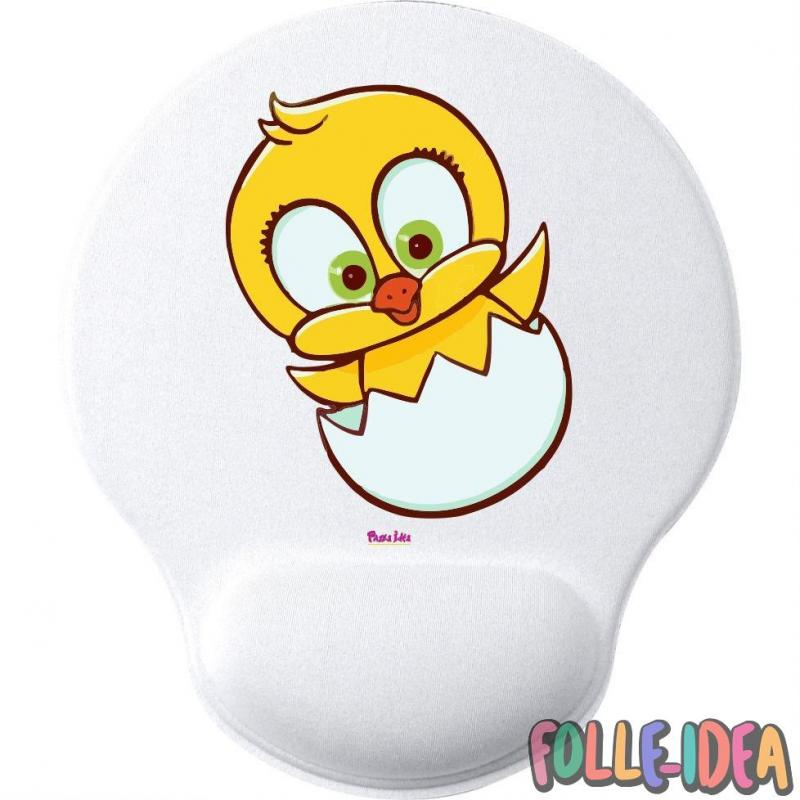 MousePad Rotondo con Poggia Polso Idea Regalo per pasqua -pulcino- mspdpsq018
