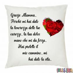 """Cuscino Idea Regalo per la Mamma \\""""grazie mamma\\"""" csnmm006"""
