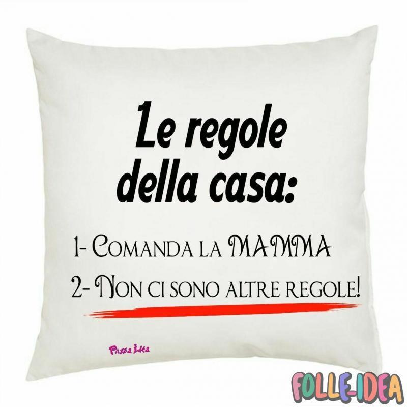"""Cuscino Idea Regalo per la Mamma \\""""regole della casa\\"""" csnmm010"""